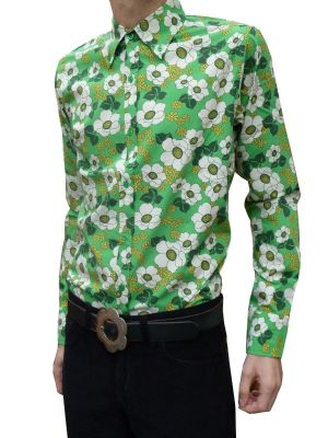 Mens Flower SHIRT 60's Psychedelic Mod  - Green Floral